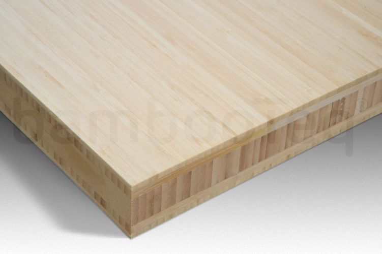 Bamboe plaat 40 mm side-pressed 5 laags naturel 244 x 122 cm